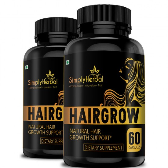 Hair Grow - With Bhringraj, Hibiscus, Brahmi, Ashwagandha & More (Natural Hair Growth and Reduced Hair Loss) - 800mg - 60 Capsules (2 Bottles)