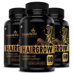 HairGrow - Natural Hair Growth Supplement 800mg - 60 Capsules (3 Bottles)