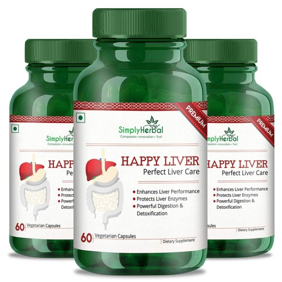 Premium Happy Liver Supplements (Perfect Liver Care, Powerful Digestion and Detoxification) - 500mg - 60 Capsules (3 Bottles)
