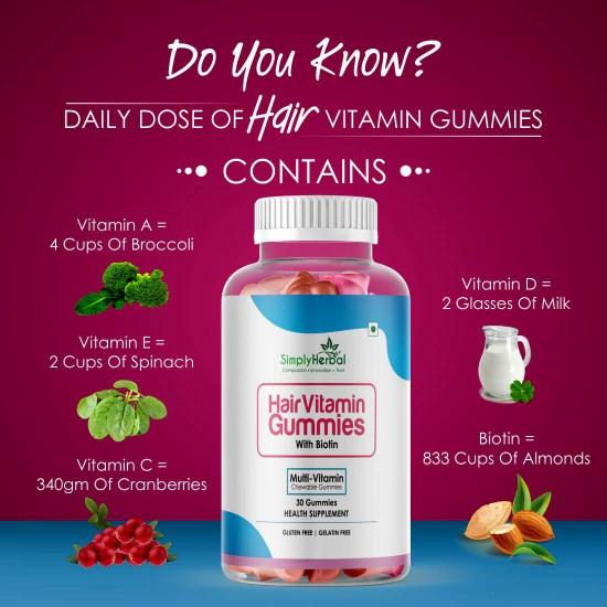 Simply Herbal Hair Vitamin Gummies with Biotin- 500mg - 30 Gummies (1 Bottle)