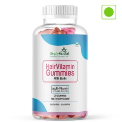 Simply Herbal Hair Vitamin Gummies with Biotin- 500mg - 30 Gummies (1 Bottle)