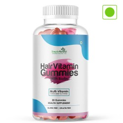 Simply Herbal Hair Vitamin Biotin Gummies with Biotin- 500mg - 30 Gummies (1 Bottle)