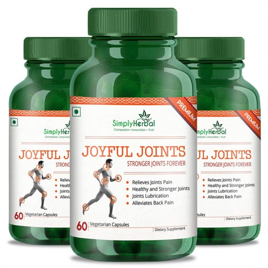 Joyful Joint Supplements (Relief Joint Pain, Joints Lubrication, Back Pain and Healthy Stronger Joint) - 700mg - 60 Capsules (3 Bottles)