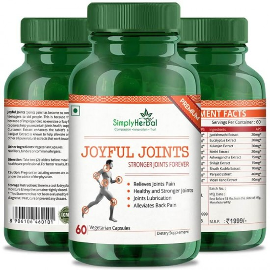 Simply Herbal Joyful Joint Supplements (Relief Joint Pain, Joints Lubrication, Back Pain and Healthy Stronger Joint) - 700mg - 60 Capsules (1 Bottle)