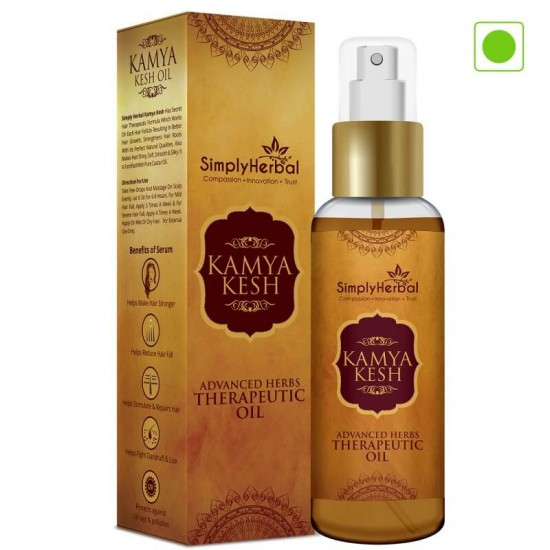 Simply Herbal Kamya Kesh Advanced Herbs Therapeutic Oil (Stops Hair Growth, Regrows Hair & Remove Dandruff Permanently) 100ml (1 Bottle)