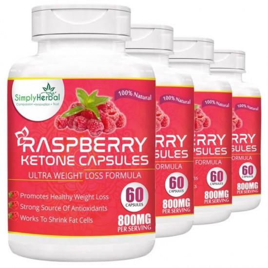 Raspberry Ketone With Green Tea & Garcinia Cambogia (4 Bottles)