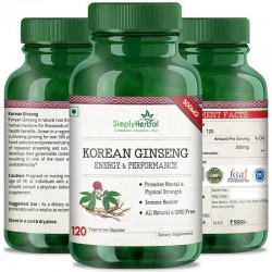 Korean Ginseng For Mental & Physical Health (Energy, Strength, Vitality and Fatigue Reduce Formula) - 500mg - 120 Capsules (1 Bottles)