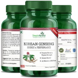 Simply Herbal Korean Ginseng For Mental & Physical Health (Energy, Strength, Vitality and Fatigue Reduce Formula) - 500mg - 100 Capsules (1 Bottle)