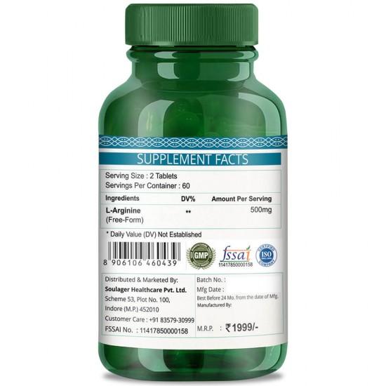 Simply Herbal Premium L-Arginine (Supports Cardiac Health & Athletic Endurance)- 500mg - 60 Tablets (1 Bottle)
