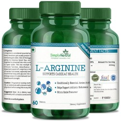 Simply Herbal Premium L-Arginine (Supports Cardiac Health & Athletic Endurance)- 500mg - 60 Tablets (1 Bottle)