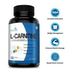 L-Carnitine Capsules (Increase Endurance, Prevent Muscle Damage & Boost Brain Function) - 500mg - 120 Capsules (1 Bottles)