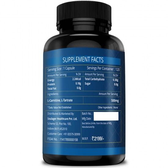 Simply Herbal L-Carnitine Capsules (Increase Endurance, Prevent Muscle Damage & Boost Brain Function) - 500mg - 120 Capsules (2 Bottles)