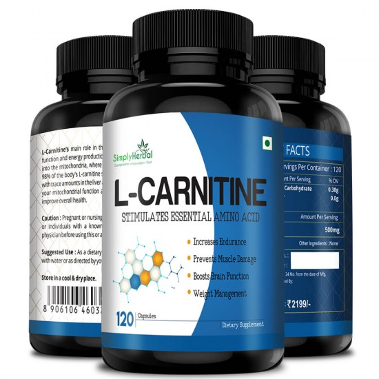 L-Carnitine Supplement 500mg - 120 Capsules (1 Bottle)