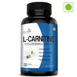 Simply Herbal L-Carnitine Capsules (Increase Endurance, Prevent Muscle Damage & Boost Brain Function) - 500mg - 120 Capsules (1 Bottle)