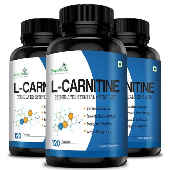 Simply Herbal L-Carnitine Capsules (Increase Endurance, Prevent Muscle Damage & Boost Brain Function) - 500mg - 120 Capsules (3 Bottles)