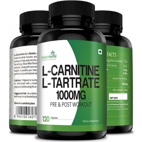 Simply Herbal L-Carnitine With L-Tartrate 1000mg Per Serving (Double Strength Formula) for Pre & Post Workout - 120 Capsules