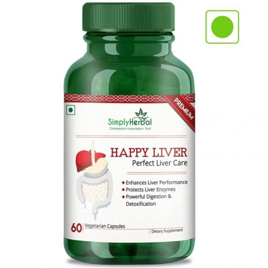 Simply Herbal Premium Happy Liver Supplements (Perfect Liver Care, Powerful Digestion and Detoxification) - 500mg - 60 Capsules (1 Bottle)
