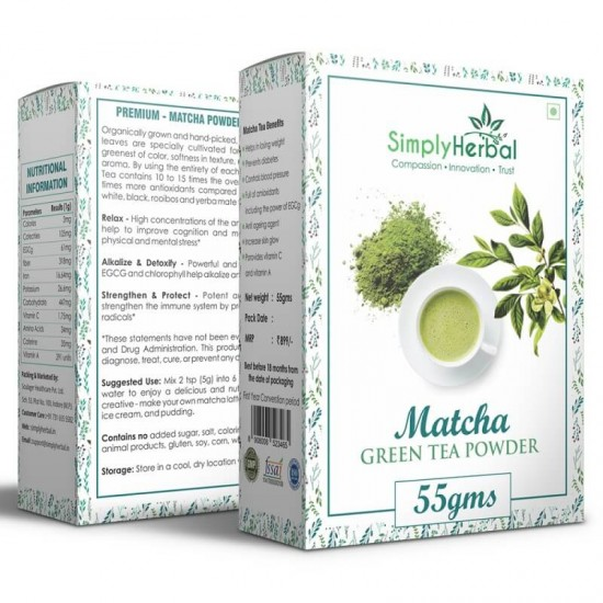 Simply Herbal Japanese Matcha Green Tea Powder - 55Gm (Lose Weight, Prevent Diabetes, Blood Pressure, Anti-aging Agent) - (2 Pack)