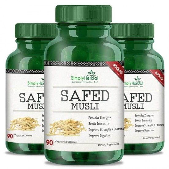 Safed Musli (Boosts Energy, Strength, Stamina, Improve Digestion & Performance Level) - 800mg - 90 Capsules (3 Bottles)