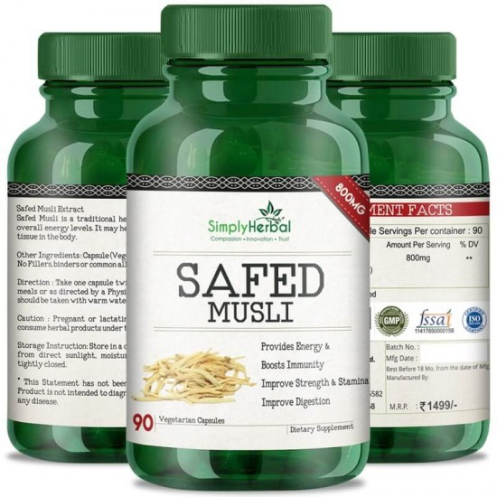 Safed Musli (Boosts Energy, Strength, Stamina, Improve Digestion & Performance Level) - 800mg - 90 Capsules (1 Bottles)