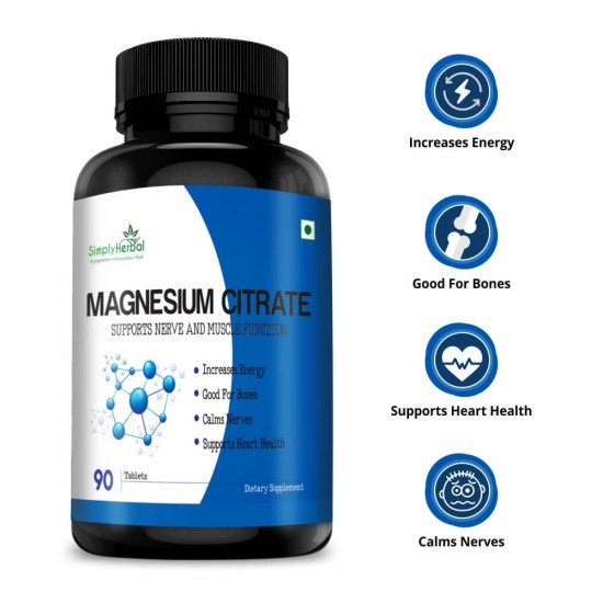 Simply Herbal Magnesium Citrate Supplement (Support Nerve, Heart Health, Increase Energy, Strong Bones and Muscle Function) - 330mg - 90 Tablets (1 Bottle)