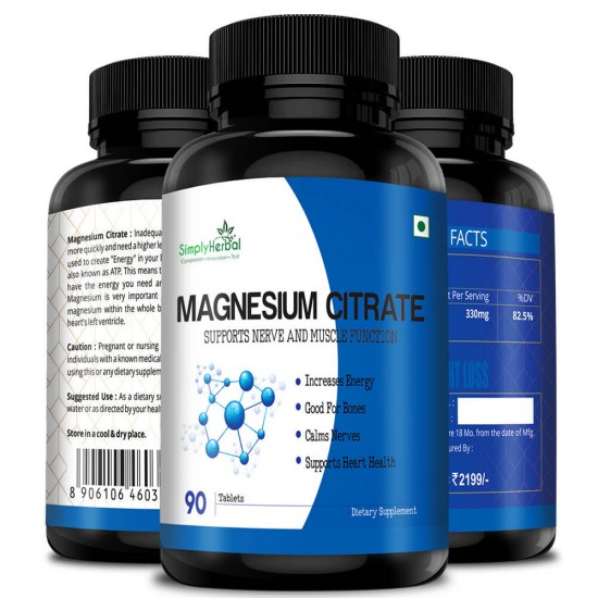 Simply Herbal Magnesium Citrate Supplement (Support Nerve, Heart Health, Increase Energy, Strong Bones and Muscle Function) - 330mg - 90 Tablets (3 Bottles)