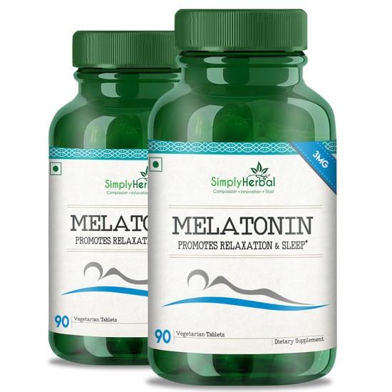 Melatonin (Relaxation & Healthy Sleep Cycle)- 3mg - 90 Tablets (2 Bottles)