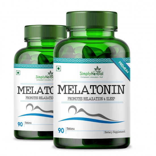Simply Herbal melatonin Advanced 10Mg Formula for Healthy Sleep Cycle - 90 Pills (2 Bottles)