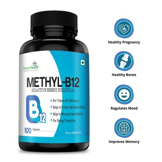 Simply Herbal Methyl B12 (Methylcobalamin) - 1000mcg - 100 Capsules (1 Bottle)
