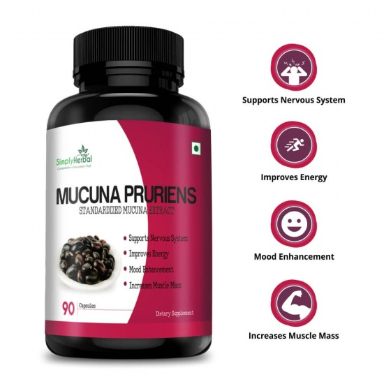 Mucuna Pruriens Extract (Supports Nervous System, Energy, Strength & Stamina) - 500mg - 90 Capsules (1 Bottles)