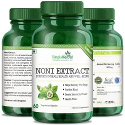 Simply Herbal Noni Extract Supplements (For Blood Purifier, Boost Immunity, Detoxify Your Body & Health Tonic) - 500mg - 60 Capsules (1 Bottle)
