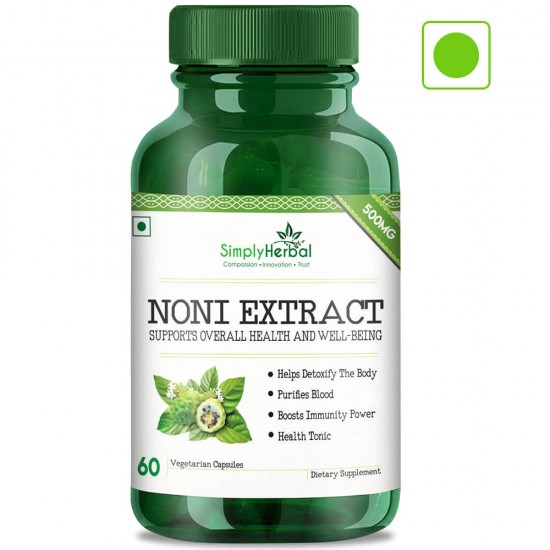 Simply Herbal Noni Extract Supplements (For Blood Purifier, Boost Immunity, Detoxify Your Body & Health Tonic) - 500mg - 60 Capsules (2 Bottles)