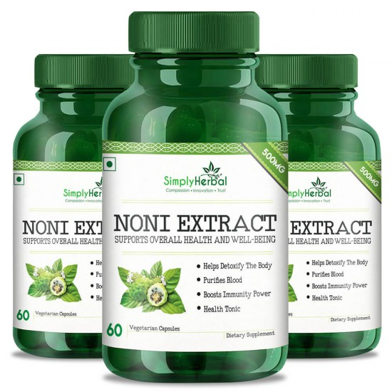 Simply Herbal Noni Extract Supplements (For Blood Purifier, Boost Immunity, Detoxify Your Body & Health Tonic) - 500mg - 60 Capsules (3 Bottles)
