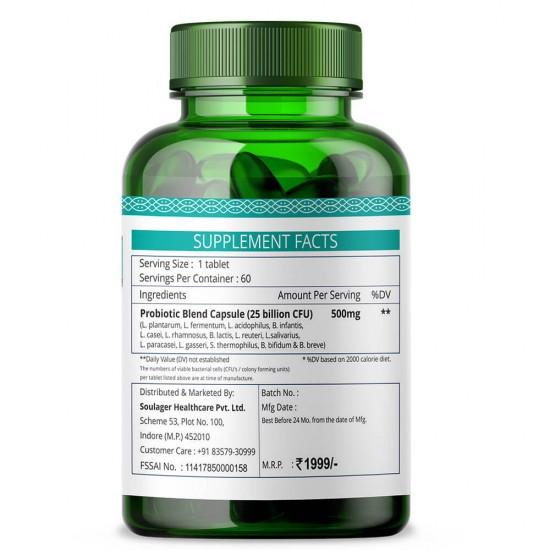 Probiotics 25 Billion CFU Formula 500mg - 60 Capsules (3 Bottles)