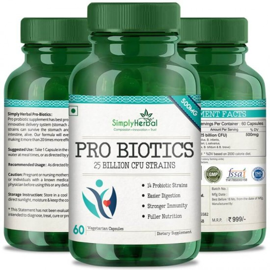 Probiotics Supplements - 25 Billion CFU Formula (Digestive Health, Health Skin & Antibiotic) - 500mg - 60 Capsules (1 Bottles)