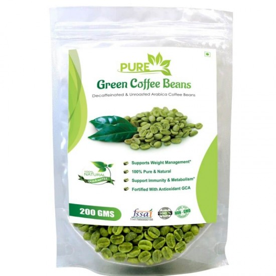 Pure Green Coffee Beans with Fortified Antioxidant Arabica quality(GCA) 50% (For Weight Loss and Fat Burning Supplements) - 200gms