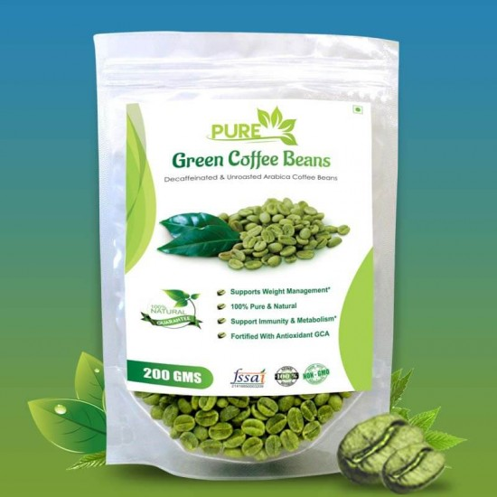 Pure Green Coffee Beans with Fortified Antioxidant (GCA) 50% (For Weight Loss and Fat Burning Supplements) - 200gms (1 Pack)
