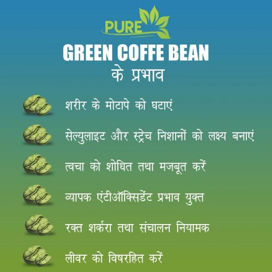 Pure Green Coffee Beans with Fortified Antioxidant (GCA) 50% (For Weight Loss and Fat Burning Supplements) - 200gms (6 Pack)