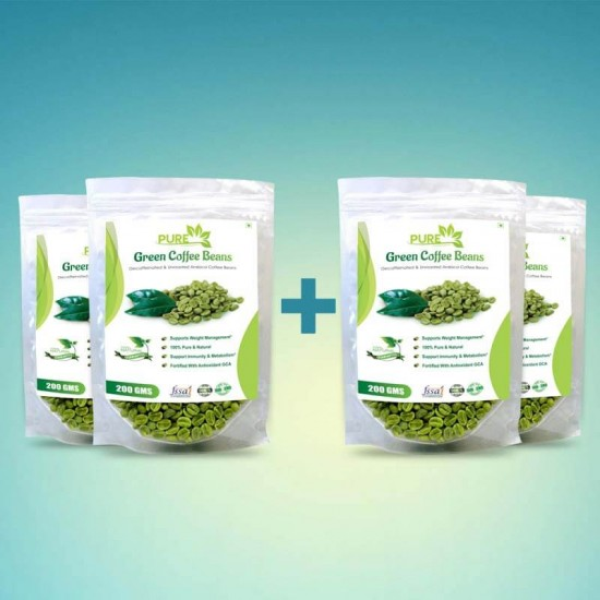 Pure Green Coffee Beans with Fortified Antioxidant (GCA) 50% (For Weight Loss and Fat Burning Supplements) - 200gms (4 Pack)