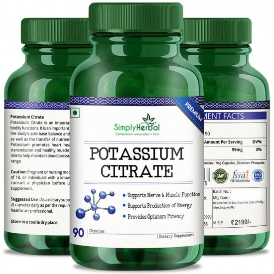 Simply Herbal Premium Potassium Citrate (Supports Nerve, Body Function & Help Kidney Stones) - 99mg - 90 Capsules (1 Bottle)