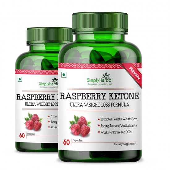 Simply Herbal Raspberry Ketones With Green Tea & Garcinia Cambogia for Weight Management & Reduce Body - 800mg - 60 Capsules (2 Bottles)