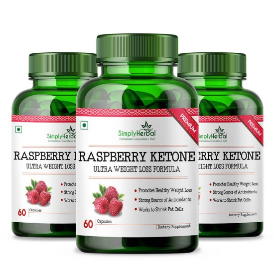 Simply Herbal Raspberry Ketones With Green Tea & Garcinia Cambogia for Weight Loss & Reduce Body Fat - 800mg - 60 Capsules (3 Bottles)