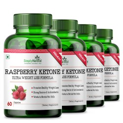 Simply Herbal Raspberry Ketones With Green Tea & Garcinia Cambogia for Weight Loss & Reduce Body Fat - 800mg - 60 Capsules (4 Bottles)