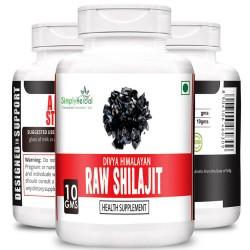 Simply Herbal Divya Himalayan Raw Shilajit 10Gm (100% Pure Rock Authentic Health Supplements) Original & Shudh High-Quality Rock Shilajeet (3 Bottles)