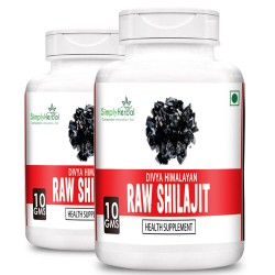 Simply Herbal Divya Himalayan Raw Shilajit 10Gm (100% Pure Rock Authentic Health Supplements) Original & Shudh High-Quality Rock Shilajeet (2 Bottles)