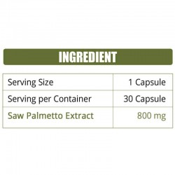Saw Palmetto Extract 800mg - 30 Capsules (1 Bottle)