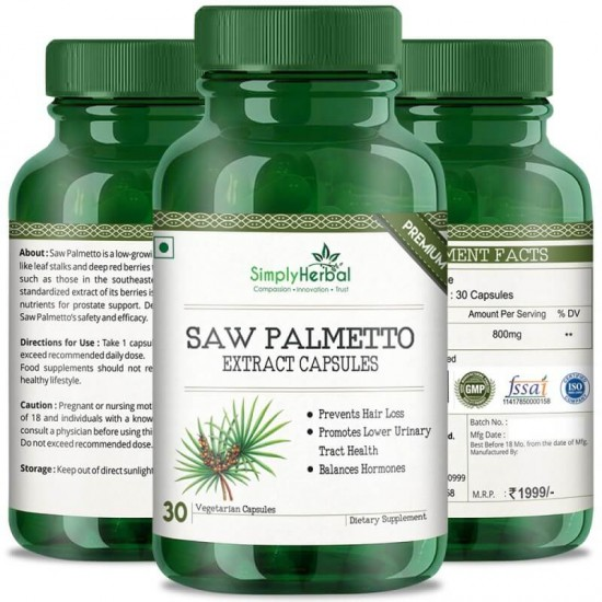 Simply Herbal Premium Saw Palmetto Extract (Hair Growth, Prevent Hair Loss & Hormone Balance) - 800mg - 30 Capsules (3 Bottles)