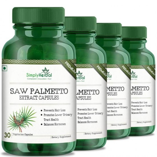 Simply Herbal Premium Saw Palmetto Extract (Hair Growth, Prevent Hair Loss & Hormone Balance) - 800mg - 30 Capsules (4 Bottles)