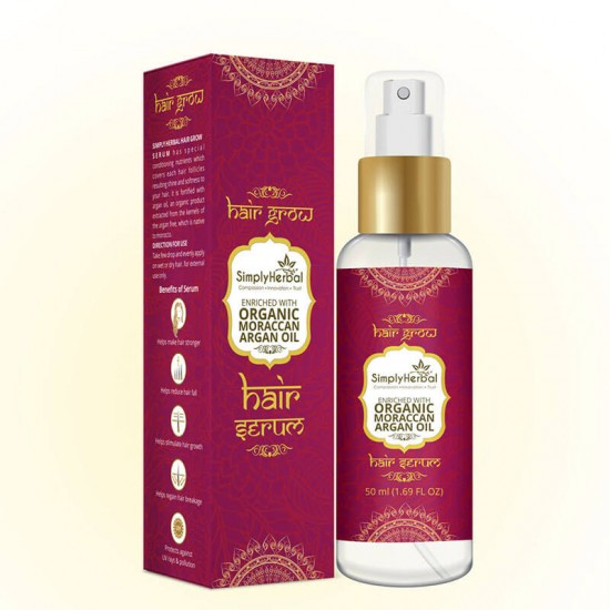 Simply Herbal Hair Grow Serum Enriched With Moroccans Argan Oil, Jojoba Oil & Almond Oil (Reduce Hair Fall & Hair Regrowth) 50ml (2 Bottles)