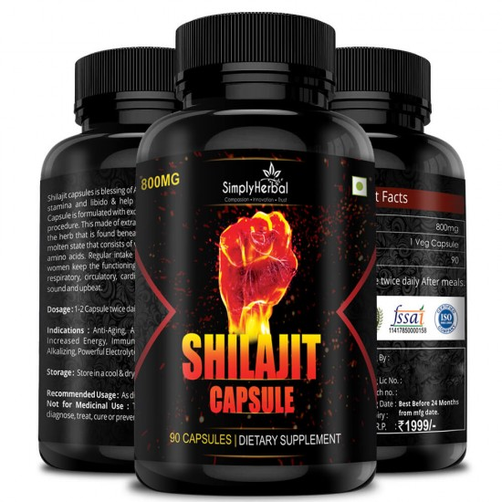 Shilajit Gold (Increase Energy, Stamina, Testosterone, Virility & Control Premature Ejaculation) - 800mg - 90 Capsules (3 Bottles)